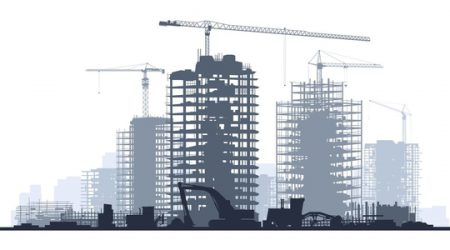 Line of silhouettes illustration of construction site with cranes and skyscraper with tractors, bulldozers, excavators and grader in blue tone.